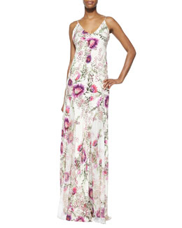 Spaghetti Strap Floral-Print Gown