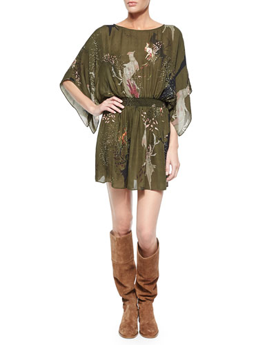Bird-Print Smocked-Waist Dress