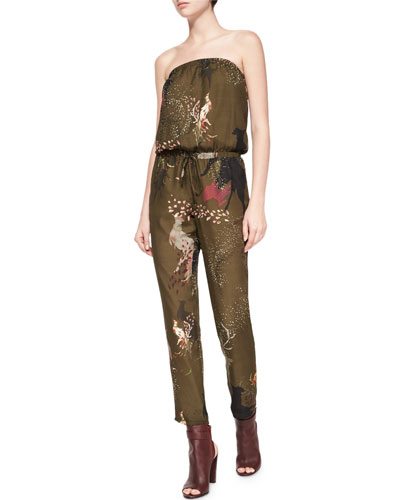 Birds-of-Paradise Strapless Silk Jumpsuit