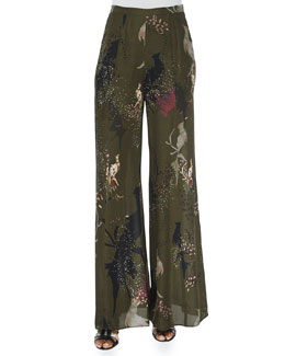 Bird-Print Wide-Leg Pants
