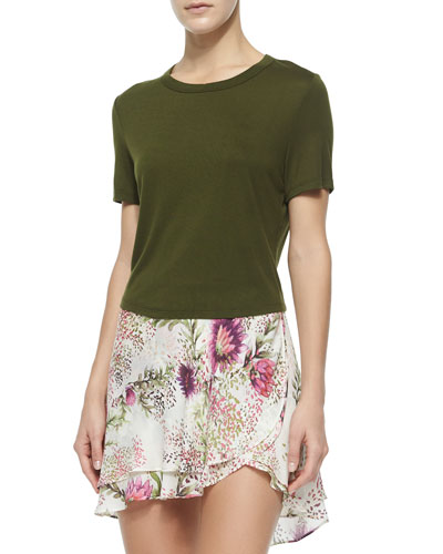 Crewneck Short-Sleeve Crop Top, Fatigue