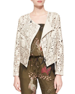 Floral Laser-Cut Leather Jacket