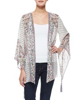 Artigas Floral Kimono Cardigan, Pearl