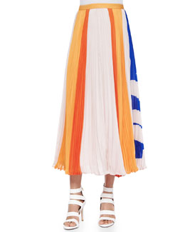 Carmen Flower-Stripes Midi Skirt