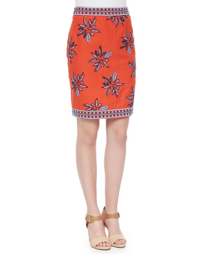 Francesca Floral-Embroidered Silk Skirt, Orange
