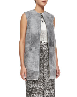 Sleeveless Shearling Fur Gilet, Gray
