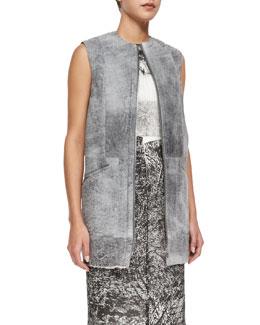 Sleeveless Shearling Fur Gilet, Gray