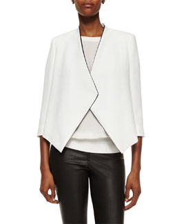 Oliver Draped Jacket, Cream/Black