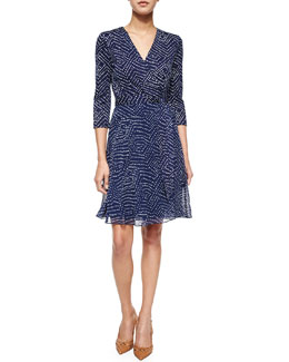 3/4-Sleeve Geometric-Print Flared Wrap Dress