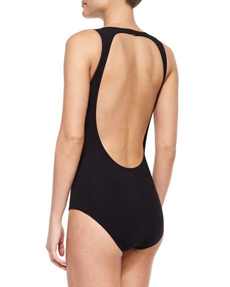 High-Neck Fringe-Panel One-Piece Swimsuit, Black