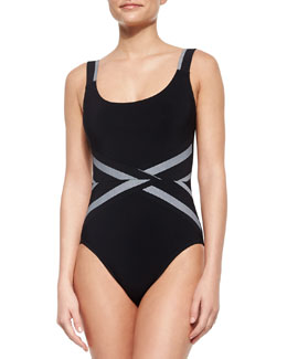 Silent Underwire Swimsuit with Textured Stripes, Black/White