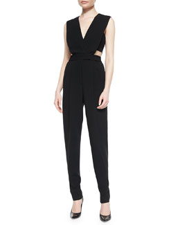 Crepe Cutout Jumpsuit, Black