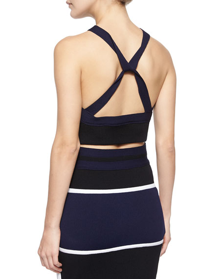 Ribbed Colorblock Knit Crop Top, Navy/Black/White