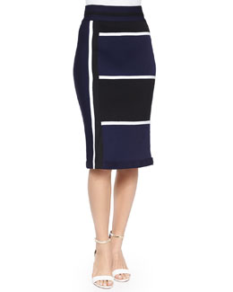 Nautical Knit Skirt, Navy/Black/White