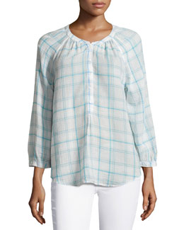 Selma Pleated Tartan Blouse, Soft Cement