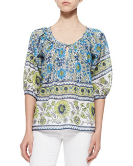 Nancy Floral-Print Cotton Blouse
