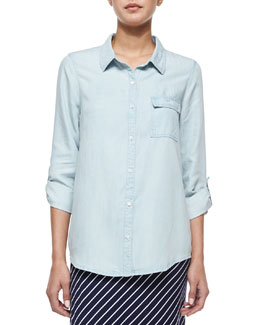 Onyx Chambray Button-Down Shirt, Light Indigo