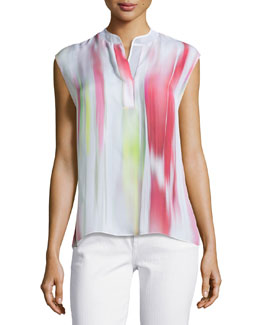 Decklan Sleeveless Multi-Shade Silk Blouse
