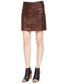 Patrol Cargo Leather Mini Skirt