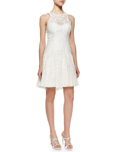 Sleeveless Jewel-Neck Circle Lace Dress