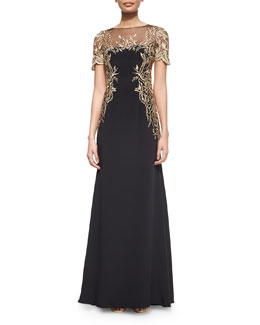 Short-Sleeve Embroidered Gown