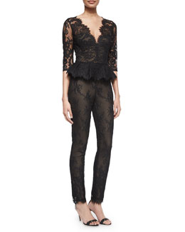 3/4-Sleeve Lace Peplum Jumpsuit