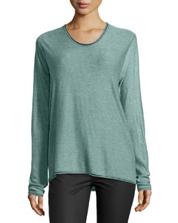 Rolled-Trim Long-Sleeve Sweater, Seafoam/Black