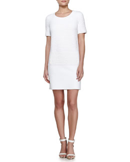 Vonda Textured Shift Dress, White