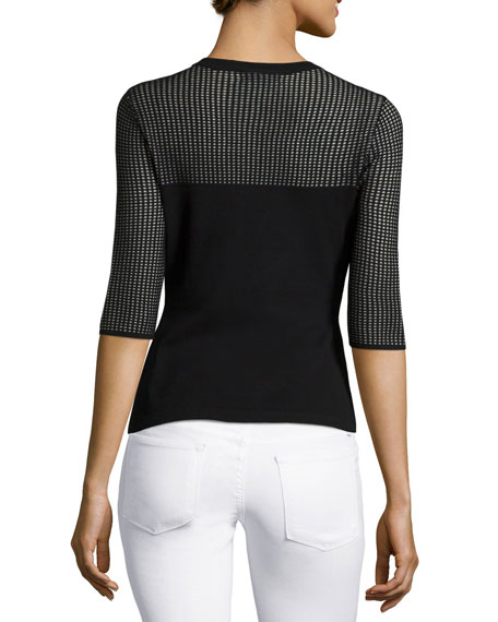 Shelby Perforated Sweater, Black