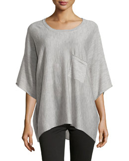 Serena Cashmere Tunic, Light Gray