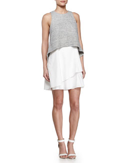 Empire Flounce Dress, Gray/White