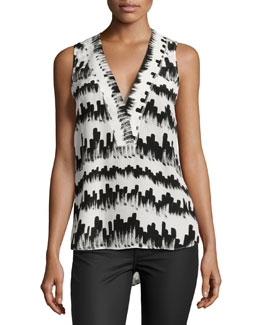 V-Neck Printed Shell, Black/White