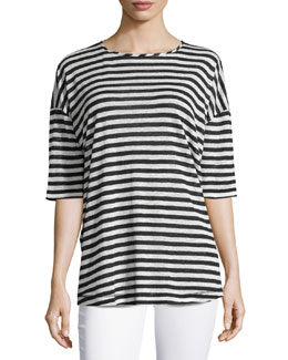 Tulip-Back Striped Tee, Midnight/White