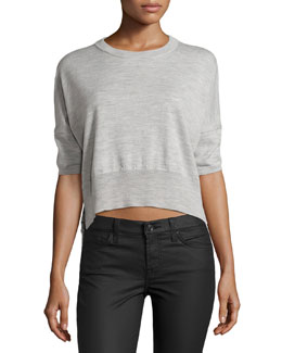 Striped-Back Cropped Sweater, Light Gray