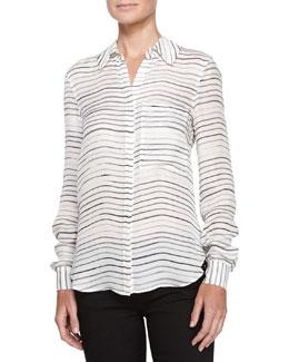 Painterly-Stripe Silk Blouse, Swan/Black