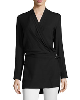 Ascend Belted Wrap Tunic, Black