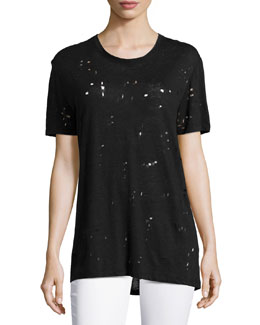 Clay Hole-Detail Tee, Black