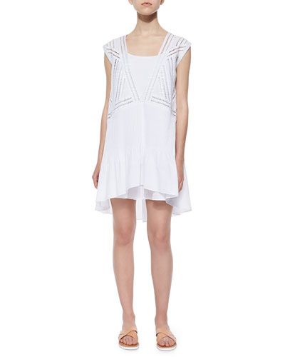 Mosaic-Embellished Shift Dress, White