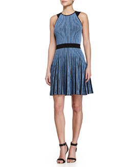 Vertical-Stripe Flare Dress, Moon Blue