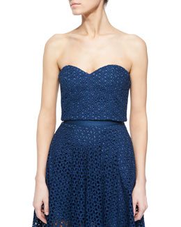 Hanae Eyelet Cropped Strapless Bustier Top, Aegean Blue