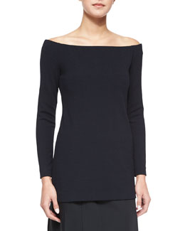 Off-the-Shoulder Jersey Top, Black