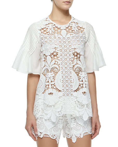 Alexis Emmanuel Crochet Bell-Sleeve Top, White