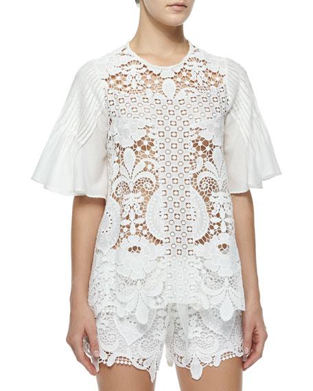 c9ed88a6 Alexis Emmanuel Crochet Bell-Sleeve Top, White
