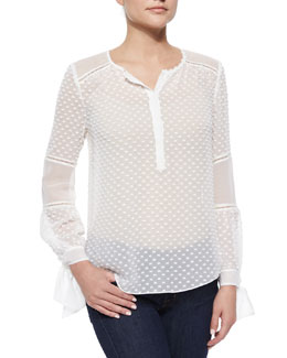 Swiss Dot & Chiffon Top, Chalk