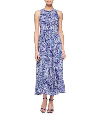 Paisley-Combo Sleeveless Dress, Indigo