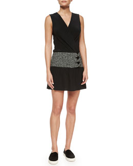 Sleeveless Side-Twist Dress, Black/White