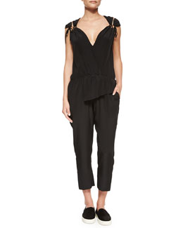 Tie-Shoulder Silk Jumpsuit, Black