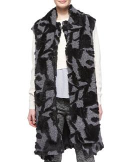 Long Scarf-Tie Vest, Charcoal/Black