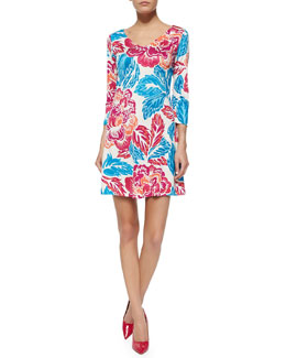 Kaden Giant Floral 3/4-Sleeve Dress