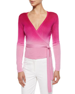 Knit Ballerina Wrap Top, Beet Ombre